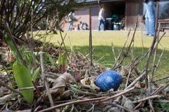 L'oeuf de pâques bleu est caché dans le jardin images stock