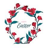 L'oeuf de pâques heureux fleurit le cadre d'alstromeria Carte de vecteur de salutation avec le symbole Image stock