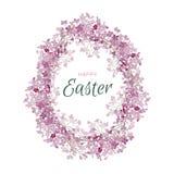 L'oeuf de pâques heureux fleurit le cadre lilas Carte de vecteur de salutation Photographie stock