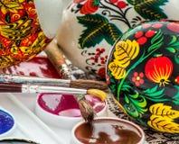 L'oeuf de pâques religieux a peint l'aquarelle Photos libres de droits