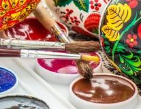 Aquarelle peinte religieuse d'oeuf de pâques Photos libres de droits