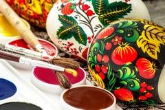 Aquarelle peinte religieuse d'oeuf de pâques Photographie stock libre de droits