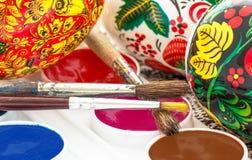 Aquarelle peinte religieuse d'oeuf de pâques Photographie stock