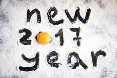 L'oeuf et numéro 2017 sur la poudre de farine, nouvelle année Photos libres de droits