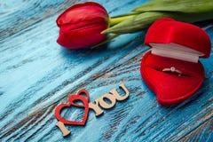 L'offerta da sposarsi Un regalo per il giorno del ` s del biglietto di S. Valentino della st Marria Immagini Stock Libere da Diritti