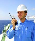L'officier de navigation parle par VH Photos libres de droits