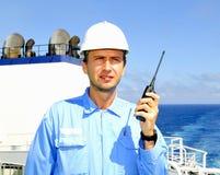 L'officier de navigation parle par VH Images stock