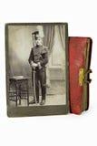 L'officier vaillant dans une photo antique Images libres de droits