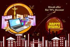 L'offre heureuse de vente d'achats de Diwali a décoré le diya pour le festival d'Inde Image stock