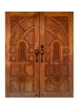 L'oggetto d'antiquariato tailandese di stile ha scolpito la porta di legno del legno del tek Fotografie Stock