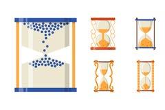 L'oggetto della storia di progettazione di tempo dell'icona di Sandglass ed il minuto in secondo luogo vecchi piani di ora del te Fotografie Stock