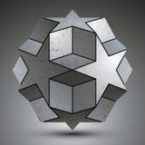 L'oggetto sferico galvanizzato 3d ha creato dalle forme della stella Fotografia Stock