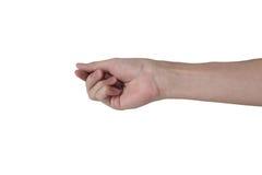 L'oggetto virtuale della tenuta della mano dell'uomo gradisce un biglietto da visita, carta di credito isolata con fondo bianco Fotografie Stock