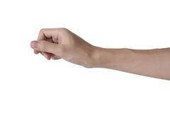 L'oggetto virtuale della tenuta della mano dell'uomo gradisce un biglietto da visita, carta di credito isolata con fondo bianco fotografia stock