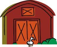 L'oie marche par une grange Image libre de droits