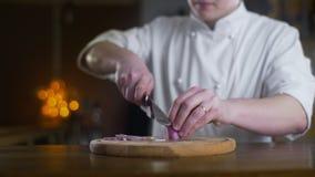 L'oignon de coupes de cuisinier sur le conseil en bois dans une barre dans le mouvement lent, faisant cuire la salade de légume  banque de vidéos