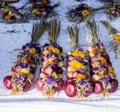 L'oignon traditionnel plats au marché juste allemand 3 Photographie stock libre de droits