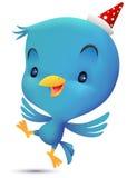 L'oiseau bleu avec le chapeau font la danse Image libre de droits