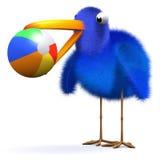 l'oiseau bleu 3d joue la boule à la plage Illustration de Vecteur