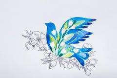 L'oiseau bleu de croquis a plongé sur un fond blanc photographie stock