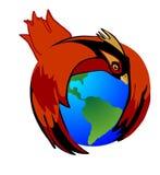 L'oiseau cardinal retient la Terre pour se protéger Image stock