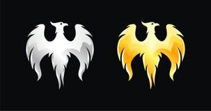 L'oiseau de Phoenix s'envole le vecteur d'argent et d'or illustration stock