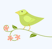 L'oiseau mignon de dessin animé se repose sur un branchement Images libres de droits