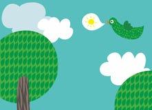 L'oiseau porte un message illustration libre de droits