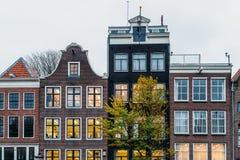 L'olandese alloggia la facciata nella città di Amsterdam Fotografia Stock