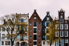 L'olandese alloggia la facciata nella città di Amsterdam Immagine Stock