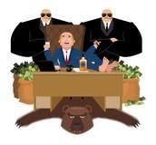 L'oligarque russe s'assied à la table et boit du whiskey Au ciga de fumée illustration de vecteur