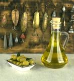 L'olio d'oliva è un prodotto naturale Immagini Stock Libere da Diritti