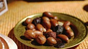 L'olio di argan è fatto dai dadi dell'argania spinosa - antiossidante utile della frutta dell'argania spinosa per le smagliature  stock footage