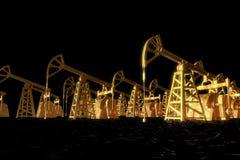 L'olio industriale di concetto dell'illustrazione è l'oro nero, pozzi dell'olio biondo nell'illustrazione marina 3D dell'olio ner royalty illustrazione gratis