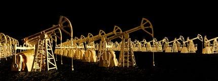 L'olio industriale di concetto dell'illustrazione è l'oro nero, pozzi dell'olio biondo nell'illustrazione marina 3D dell'olio ner illustrazione vettoriale