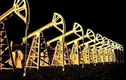 L'olio industriale di concetto dell'illustrazione è l'oro nero, pozzi dell'olio biondo nell'illustrazione marina 3D dell'olio ner illustrazione di stock