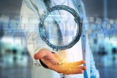 L'ologramma fatto della ruota con i dati futuristici di finanza collega Fotografie Stock Libere da Diritti