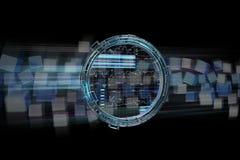 L'ologramma fatto della ruota con i dati futuristici di finanza collega Fotografia Stock