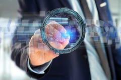 L'ologramma fatto della ruota con i dati futuristici di finanza collega Immagine Stock