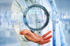 L'ologramma fatto della ruota con i dati futuristici di finanza collega Fotografie Stock