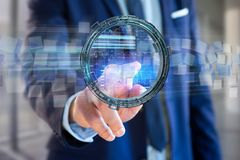 L'ologramma fatto della ruota con i dati futuristici di finanza collega Immagine Stock Libera da Diritti
