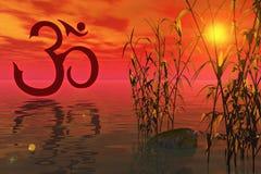 L'OM et le coucher du soleil Photos libres de droits