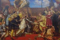 L'omaggio prussiano, un olio sulla pittura della tela dal pittore polacco Jan Matejko Fotografia Stock