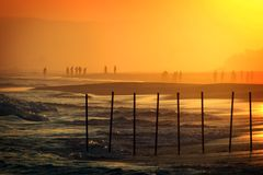 l'Oman : Coucher du soleil à la plage de Salalah Photos libres de droits