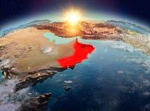 L'Oman de l'espace dans le lever de soleil Photographie stock libre de droits
