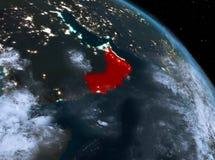 L'Oman la nuit d'orbite Photos stock