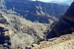 L'Oman, paesaggio delle montagne di grande canyon dell'Oman Immagini Stock Libere da Diritti