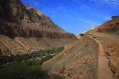L'Oman: Strada ai wadi Tiwi Fotografie Stock Libere da Diritti