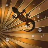 L'ombra della lucertola è su terra Tone Leaf Fotografie Stock