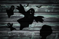L'ombra nera del bambino e dei fantasmi spaventati Fotografie Stock